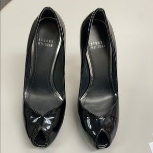 Stuart Weitzman black Patent Leather peep toe